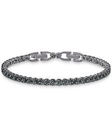 Swarovski Men's Hematite-Tone Crystal Tennis Bracelet