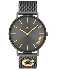 COACH Women's Perry Black Stainless Steel Mesh Bracelet Watch 36mm