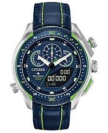 Citizen Eco-Drive Men's Analog-Digital Chronograph Promaster SST Black Leather Strap Watch 46mm