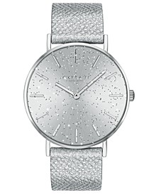 Women's Perry Metallic Silver-Tone Leather Strap Watch 36mm