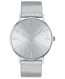COACH Women's Perry Metallic Silver-Tone Leather Strap Watch 36mm