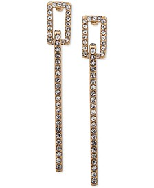 Gold-Tone Pavé Line Drop Earrings