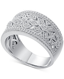 Diamond Scroll-Pattern Statement Ring (1/5 ct. t.w.) in Sterling Silver
