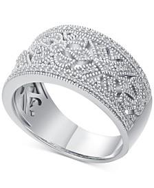 Diamond Scroll-Pattern Statement Ring (1/5 ct. t.w.) in Sterling Silver