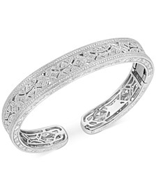 Diamond Filigree Cuff Bracelet (1/4 ct. t.w.) in Sterling Silver