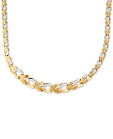 """Two-Tone Stampato Link Graduated 17"""" Chain Necklace in 10k Gold"""