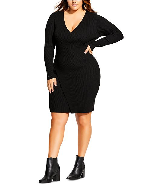 City Chic Trendy Plus Size V-Neck Knit Dress