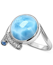 Larimar (12mm) & Multi-Gemstone (5/8 ct. t.w.) Statement Ring in Sterling Silver