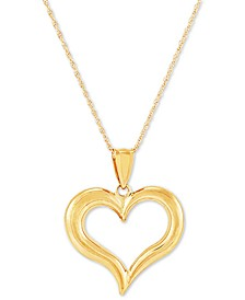 """Polished Heart 18"""" Pendant Necklace in 14k Gold"""