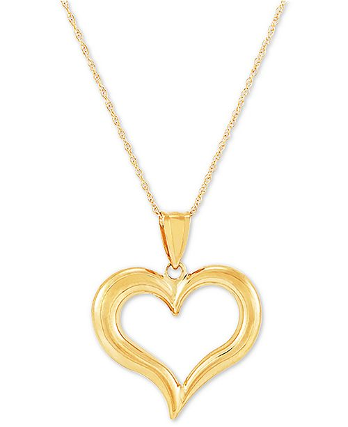 """Macy's Polished Heart 18"""" Pendant Necklace in 14k Gold"""