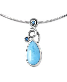 "Larimar (9 x 14mm) & Blue Spinel (1/10 ct. t.w.) 21"" Adjustable Pendant Necklace in Sterling Silver"