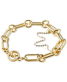 Michael Kors Sterling Silver Crystal Logo Link Bracelet