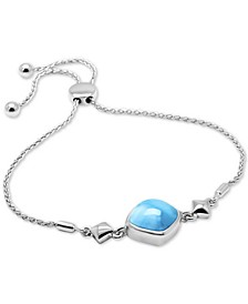 Larimar (12mm) Bolo Bracelet in Sterling Silver