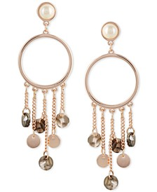 Rose Gold-Tone Imitation Pearl Tortoise-Look Charm Front-Facing Hoop Earrings