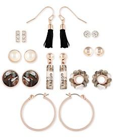 GUESS Rose Gold-Tone 9-Pc. Set Crystal, Imitation Pearl, Tortoise-Look & Tassel Earrings