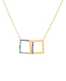 """Two-Tone Interlocking Squares 17"""" Pendant Necklace in 14k Gold & White Gold"""