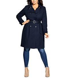 Trendy Plus Size Classic Trench Coat