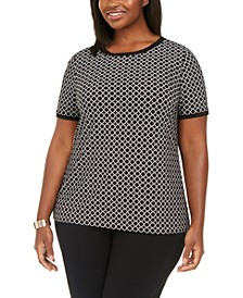 Plus Size Button Back Blouse