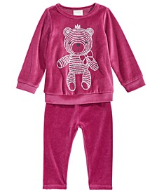Baby Girls Teddy Bear Velour Top & Velour Leggings, Created For Macy's