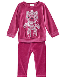 First Impressions Baby Girls Teddy Bear Velour Top & Velour Leggings, Created For Macy's