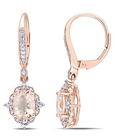 Morganite (2-1/3 ct. t.w.) White Sapphire (2/5 ct. t.w.) and Diamond (1/8 ct.tw.) Vintage Halo Dangle Earrings in 10k Rose Gold