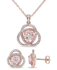 Morganite (2-7/8 ct. t.w.) and Diamond (1/5 ct. t.w.) Trillium 2-Piece Earrings and Necklace Set in 18k Rose Gold Over Silver