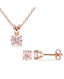 Morganite (1-4/5 ct. t.w.) Solitaire 2-Piece Necklace and Stud Earrings Set in 18k Rose Gold Over Silver