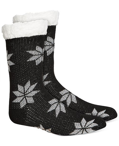 Charter Club Women's Snowflake Slipper Socks With Faux-Sherpa Lining, Created For Macy's