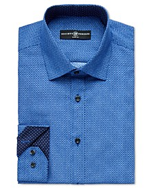 Men's Slim-Fit Non-Iron Performance Navy Geo Square Dress Shirt