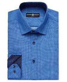 Society of Threads Men's Slim-Fit Non-Iron Performance Navy Geo Square Dress Shirt