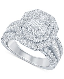 Diamond Baguette Cluster Double Halo Engagement Ring (2-1/2 ct. t.w.) in 14k White Gold