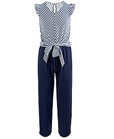 Big Girls Striped Tie-Front Jumpsuit