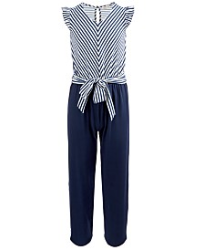Monteau Big Girls Striped Tie-Front Jumpsuit
