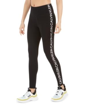 Calvin Klein Performance Logo High-waist Leggings In White Combo