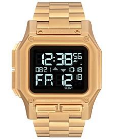Nixon Men's Digital Regulus Gold-Tone Stainless Steel Bracelet Watch 46mm