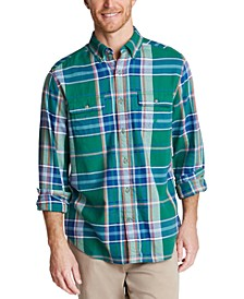 Men's Classic-Fit Stretch Plaid Flannel Shirt