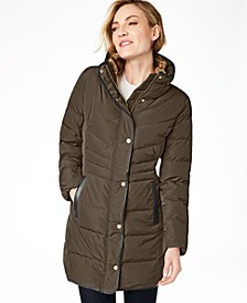 Faux-Fur-Lined Down Puffer Coat