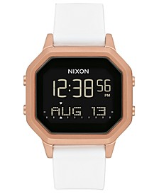 Unisex Digital Siren White Silicone Strap Watch 36mm