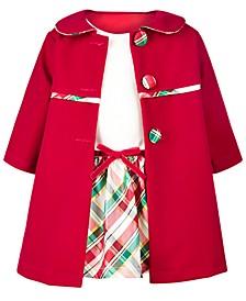 Baby Girls 2-Pc. Velvet Coat & Metallic Plaid Dress Set