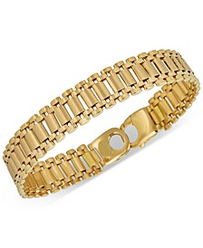 Wide Link Bracelet in 18k Gold