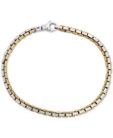 Men's Two-Tone Wheat Link Bracelet in Sterling Silver & 18k Gold-Plate