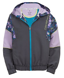 Calvin Klein Performance Big Girls Floral-Print Colorblocked Windbreaker
