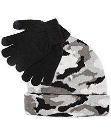 Big Boys 2-Pc. Camo Hat & Gloves Set
