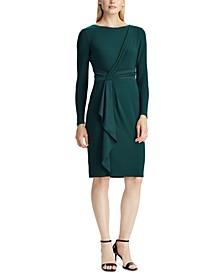 Satin-Ruffle Jersey Dress