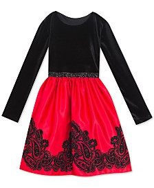 Rare Editions Toddler Girls Flocked Velvet Dress