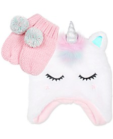 Toddler Girls 2-Pc. Faux Fur Unicorn Hat & Mittens Set