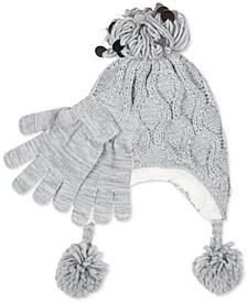Big Girls 2-Pc. Heidi Sequined Popcorn-Knit Hat & Gloves Set
