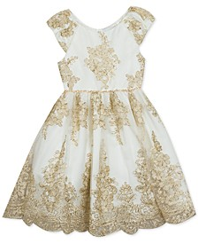 Little Girls Scalloped Embroidered Dress