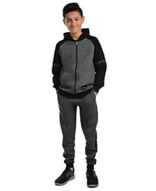 Calvin Klein Jeans Big Boys Varsity Colorblocked Fleece Hoodie & Logo-Panel Joggers