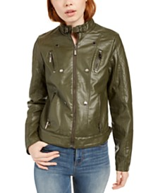 Jou Jou Juniors' Faux-Leather Jacket, Created for Macy's